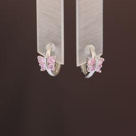 """Scharnierkreole """"Schmetterling"""" aus rhodiniertem 925-Sterlingsilber und Zirkonia"""