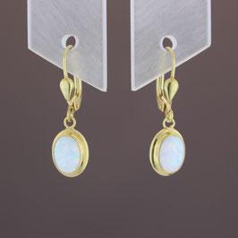 Ohrhänger aus 333-Gelbgold und rekonstruiertem Opal