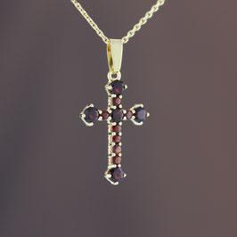 """Anhänger """"Kreuz"""" aus 333-Gelbgold und Granat"""