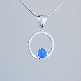 Anhänger aus rhodiniertem 925-Sterlingsilber und synthetischem Opal