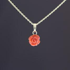 """Anhänger """"Rose"""" aus 333-Gelbgold und Astkoralle"""