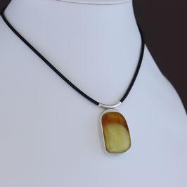 Collier aus 925-Sterlingsilber, baltischem Naturbernstein und Kautschukband