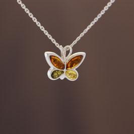 """Anhänger """"Schmetterling"""" aus 925-Sterlingsilber und baltischen Bernsteinen"""