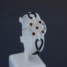 Armband aus 925-Sterlingsilber, baltischen Bernsteinen und Kautschuk