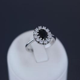 Ring aus rhodiniertem 925-Sterlingsilber, Safir und Zirkonia