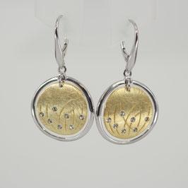 Ohrhänger aus z. T. rhodiniertem und gelbvergoldetem 925-Sterlingsilber und Zirkonia