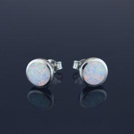 Ohrstecker aus 925-Sterlingsilber und synthetischem Opal