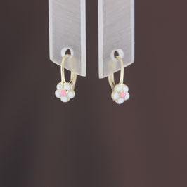 """Ohrhänger """"Blüte"""" aus 375-Gelbgold und Emaille"""