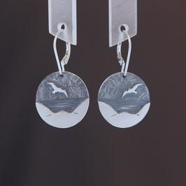 """Ohrhänger """"Möwe"""" aus geschwärztem 925-Sterlingsilber"""