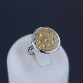 Ring aus rhodiniertem, teilweise gelbvergoldeten 925-Sterlingsilber und Zirkonia