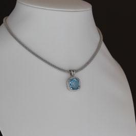 Collier aus rhodiniertem 925-Sterlingsilber, Blautopas und Zirkonia