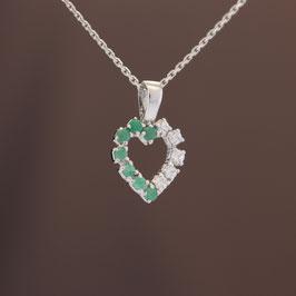 """Anhänger """"Herz"""" aus rhodiniertem 925-Sterlingsilber, Smaragd und Zirkonia"""