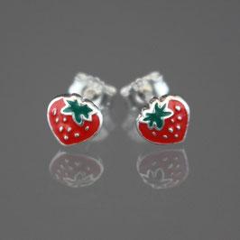 """Ohrstecker """"Erdbeere"""" aus rhodiniertem 925-Sterlingsilber und farbigem Lack"""