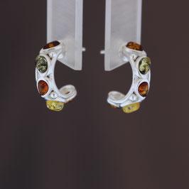 Ohrstecker (Steckkreole) aus 925-Sterlingsilber und baltischen Bernsteinen