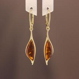 Ohrhänger aus gelbvergoldetem 925-Sterlingsilber und baltischem Bernstein