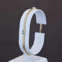 Armkette aus 333-Gelbgold und Blautopas