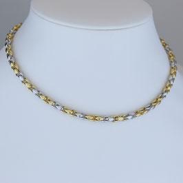 Halskette aus rhodiniertem, teilweise gelbvergoldeten 925-Sterlingsilber