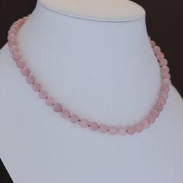 Halskette aus 925-Sterlingsilber und Rosenquarz