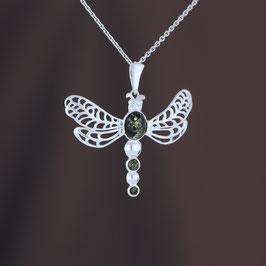 """Anhänger """"Libelle"""" aus 925-Sterlingsilber und baltischen Bernsteinen"""