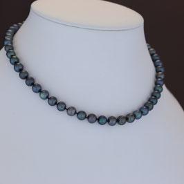 Halskette aus rhodiniertem 925-Sterlingsilber und Süßwasserzuchtperle