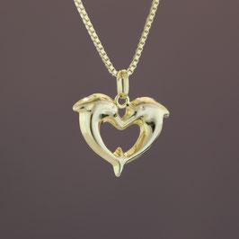 """Anhänger """"Herz aus Delfinen"""" aus 333-Gelbgold"""