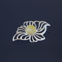 """Brosche """"Blüte"""" aus 925-Sterlingsilber und baltischem Bernstein"""