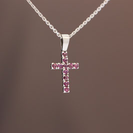 """Anhänger """"Kreuz"""" aus rhodiniertem 925-Sterlingsilber und Rubin"""