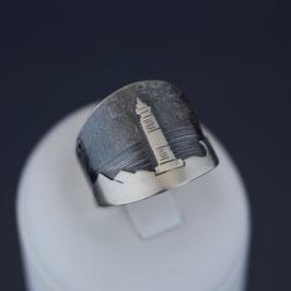 """Ring """"Leuchtturm"""" aus sulfiertem 925-Sterlingsilber"""