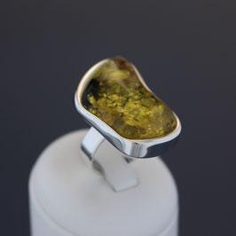 Offener Ring aus 925-Sterlingsilber und baltischem Bernstein