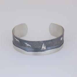 Armspange mit Möwenmotiv aus geschwärztem (sulfiert) 925-Sterlingsilber
