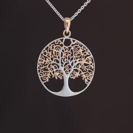 "Anhänger ""Lebensbaum"" aus rhodiniertem, teilweise rosévergoldeten 925-Sterlingsilber"