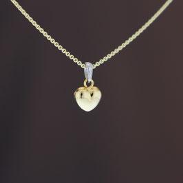 """Anhänger """"Herz"""" aus 375-Gelb- und -Weißgold und Diamant (0,01 ct.)"""