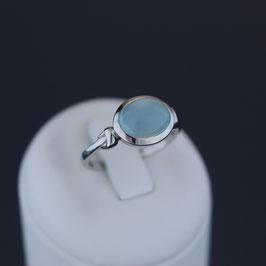 Ring aus rhodiniertem 925-Sterlingsilber und Chalcedon