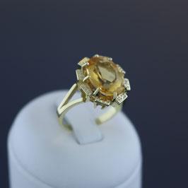 Ring aus 333-Gelbgold und Citrin