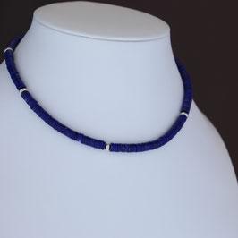 Halskette aus 925-Sterlingsilber und Lapislazuli