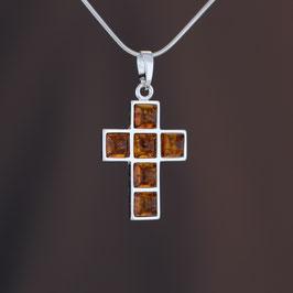 """Anhänger """"Kreuz"""" aus 925-Sterlingsilber und baltischen Bernsteinen"""