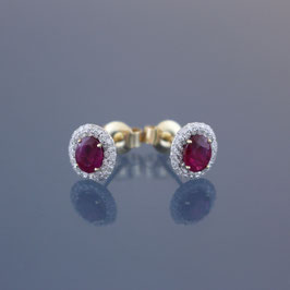 Ohrstecker aus 585-Gelbgold, Rubin und Diamanten