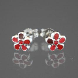 "Ohrstecker ""Blüte"" aus rhodiniertem 925-Sterlingsilber, Kristallglas und rotem Lack"