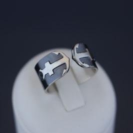 """Ring """"Anker"""" aus sulfiertem 925-Sterlingsilber"""
