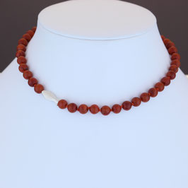 Halskette aus 925-Sterlingsilber und Schaumkoralle