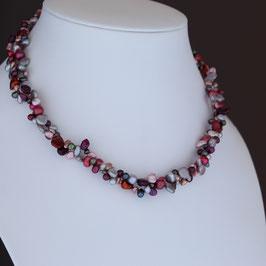 Halskette aus rhodiniertem 925-Sterlingsilber und gefärbter Süßwasserzuchtperle