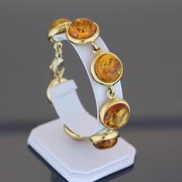 Armkette aus gelbvergoldetem 925-Sterlingsilber und baltischen Bernsteinen