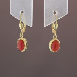 Ohrhänger (Unikat) aus 333-Gelbgold und Astkoralle