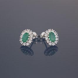 Ohrstecker aus rhodiniertem 925-Sterlingsilber, Smaragd und Zirkonia