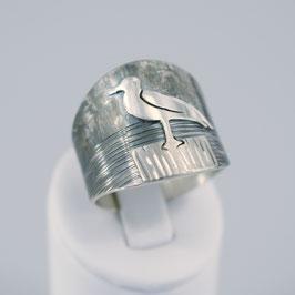 Handgearbeiteter Ring aus 925-Sterlingsilber mit Möwenmotiv
