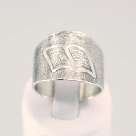 Handgearbeiteter Ring aus 925-Sterlingsilber mit Buchmotiv