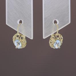 Ohrhänger aus 333-Gelbgold und Aquamarin