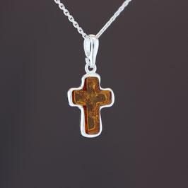 """Anhänger """"Kreuz"""" aus 925-Sterlingsilber und baltischem Bernstein"""