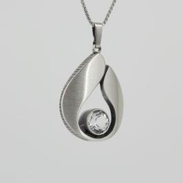 Anhänger aus mattiertem, geschwärztem Sterling-Silber mit Bergkristall