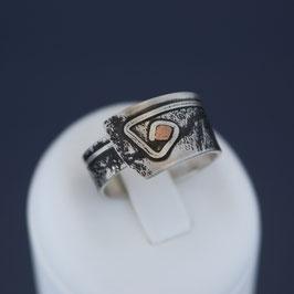 Offener Ring aus geschwärztem 925-Sterlingsilber und Kupfer